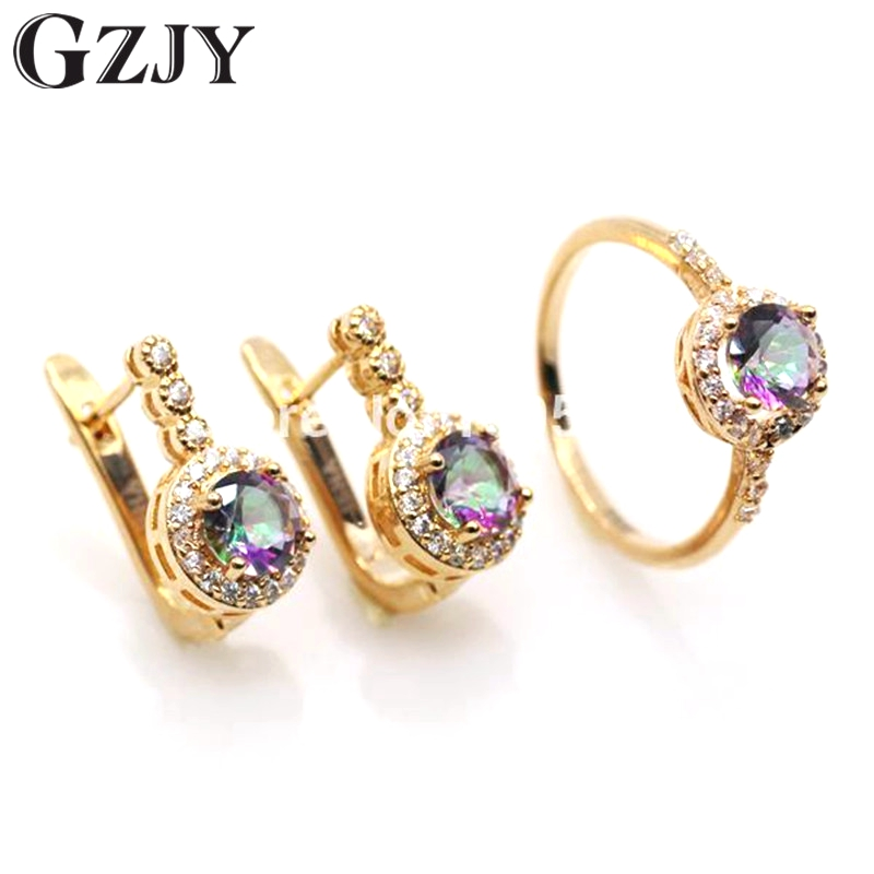 GZJY Jewelry Multicolor Cubic Zirconia Round Gold-Color Earrings Ring Set For Women Fashion Women Jewelry colorful cubic zirconia hoop earring fashion jewelry for women multi color stone aaa cz circle hoop earrings for party jewelry