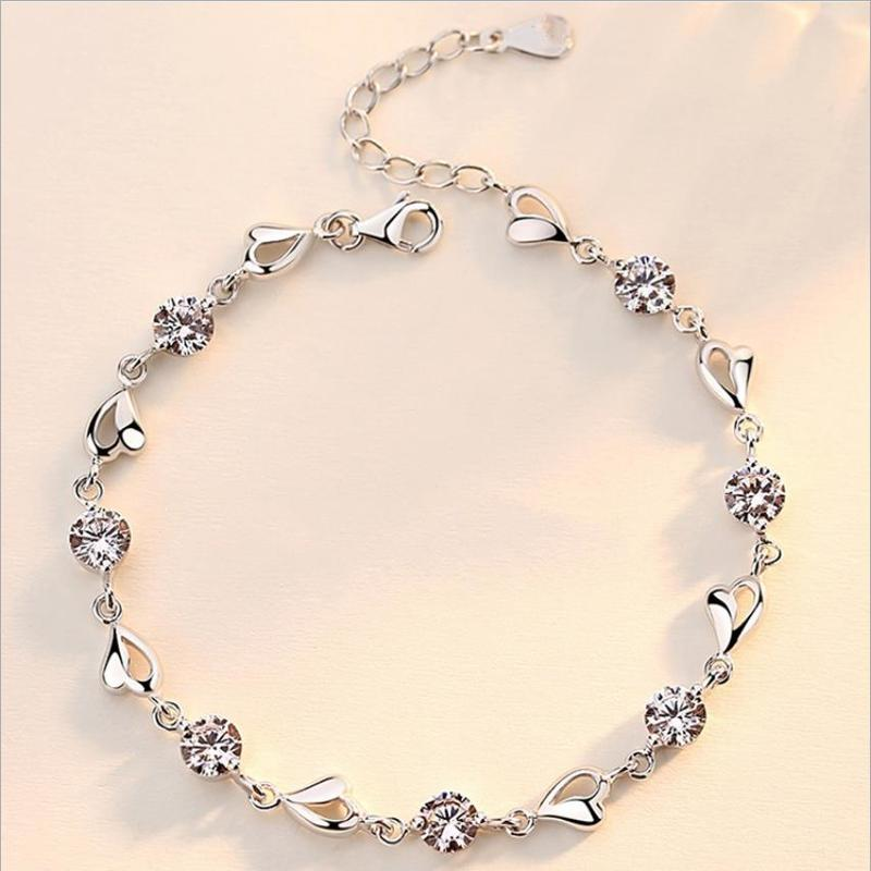 Everoyal Vintage Female 925 Silver Bracelets For Women Accessories Shiny Zircon Heart Pink Bracelets For Women Wedding Jewelry
