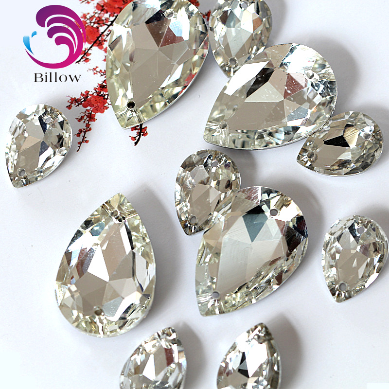 Nice Glass Crystal Sew On Rhinestone Teardrop High Quality Pointback Best Diamond Droplet Sewing Rhinestone For Garment B1039