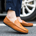 LIN KING New Men Casual Shoes Round Toe Slip-on Solid Pu Solid Simple Shoes Breathable Autumn All-Match Comfortable Single Shoes