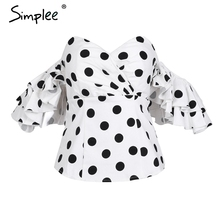 Simplee Polka dot off shoulder ruffle blouse shirt women Sexy butterfly sleeve backless black blouse 2018 Summer blouse top