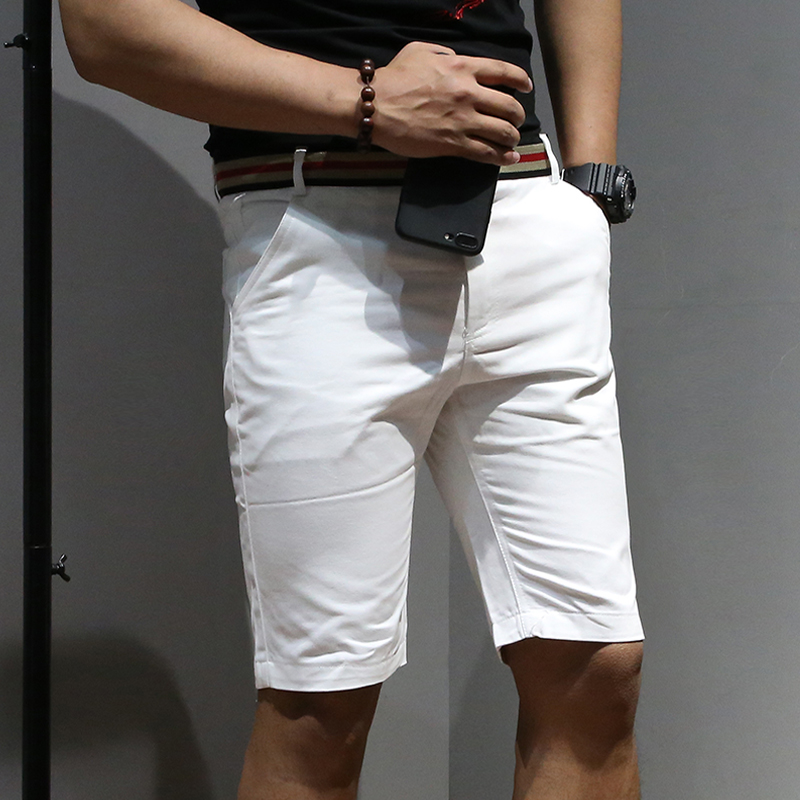 Large Size Men's Shorts 2019 New High Quality Solid Color Classic Casual Shorts Black White Slim Business Casual Shorts 38 40 42