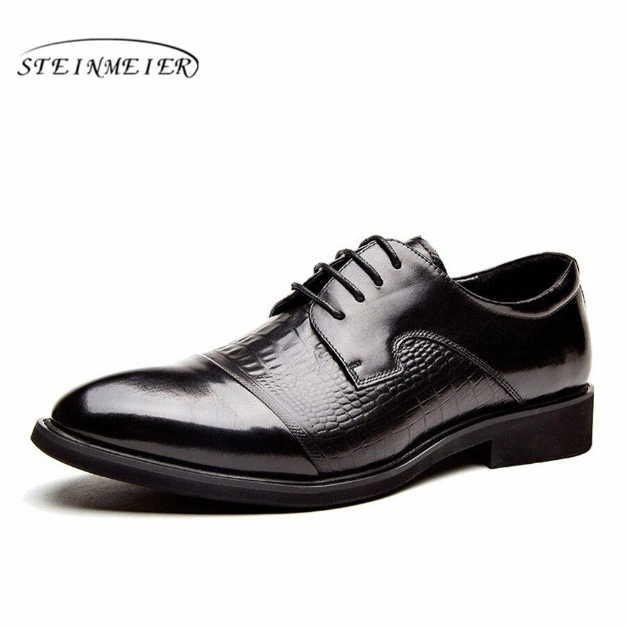 Mężczyzna formalne buty skórzane męskie sukienka oxford buty dla mężczyzn przebierających ślubne biuro biznesowe buty zasznurować męskie zapatos de hombre w Buty wizytowe od Buty na  Grupa 1