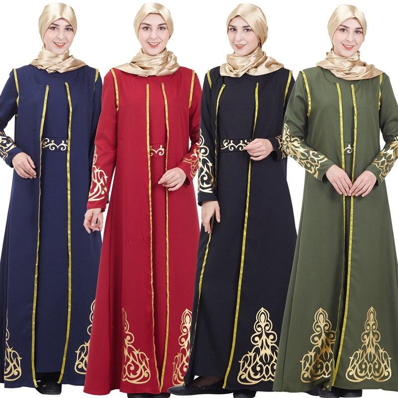 Abayas pour les femmes robe musulmane dubai caftan grande taille robe de marquage à chaud avec deux setsis vêtements islamiques caftan marocain robes