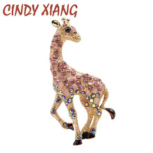 CINDY XIANG rhinestone vintage giraffe brooches for women fashion jewelry cute animal brooch pin 3 colors choose new year gift