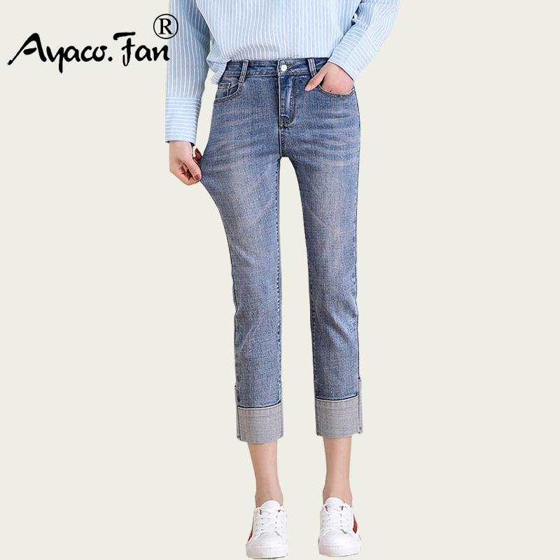2019 New Summer High Elastic Jeans For Women Jeans Stretch Skinny Cuffs Pencil Pants Grey Casual Denim Calf-Length Pants Female