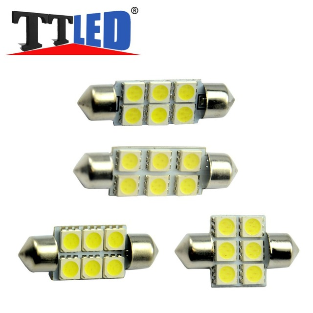 TRICOLOUR 500X Festoon 6smd 31mm 36mm 39mm 41mm  5050 6 smd leds Car interior Reading License plate instrument leds  #TK07-2