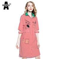 Achiewell האביב מזדמן רופף נשים חולצה שמלה חלולה מתוך שרוול אדום רקמת פסי דפוס בתוספת גודל לכייס כפתור
