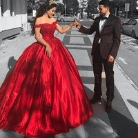 Elegant Off Shoulder Long Prom Gowns Red Lace Appliqued Formal Dress 2018 Ball Gown Party Dress for Wedding Lace Up Back