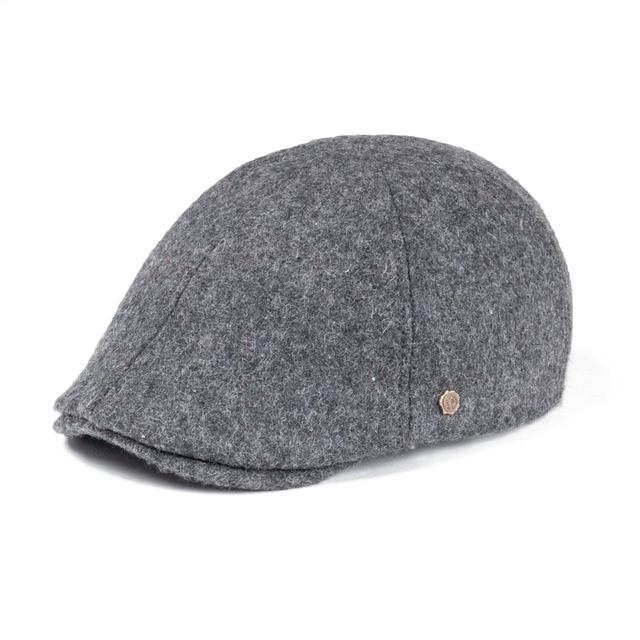099ca00d9f0 VOBOOM Wool Tweed Flat Cap Mens Women Newsboy Caps Fall Winter Warmly 6  Panel Ivy Hat Gray Black Cabbie Driver Boina 183