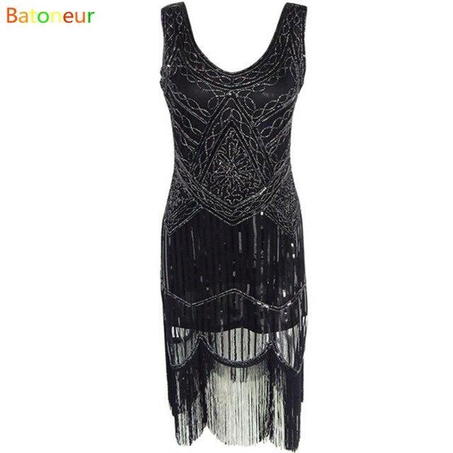 Women 1920\'s Vintage Sequin festa dresses Fringed Dress Hem Flapper ...