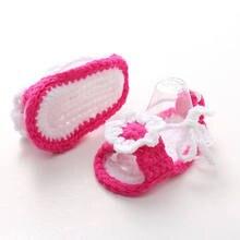 c80c1d7e2 الأولى مشوا الطفل الوليد الرضع بنات الكروشيه حك جوارب سرير أحذية أطفال  prewalker 0-12 أشهر