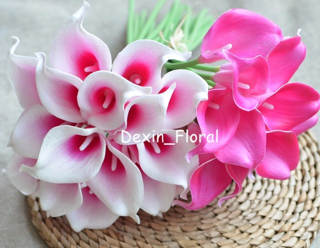 Picasso hot pink fuchsia calla lilies real touch flowers for silk picasso hot pink fuchsia calla lilies real touch flowers for silk wedding bouquets wedding decorations mightylinksfo