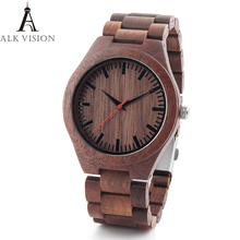 2018 Mens Walnut Wooden Watches casual Quartz Wrist Watch Full Natural Wood clock Male Watches Fashion Men Bangle Wrist Watch