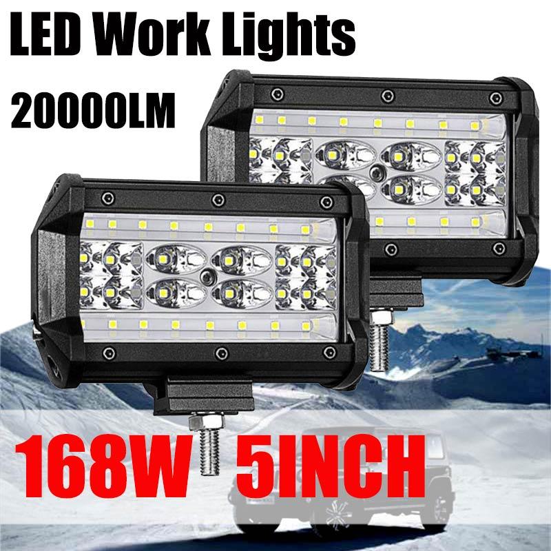 2pcs 20W Flood LED ATV UTV Jeep Truck Light Bar Off Road Backup Driving Lamp CL