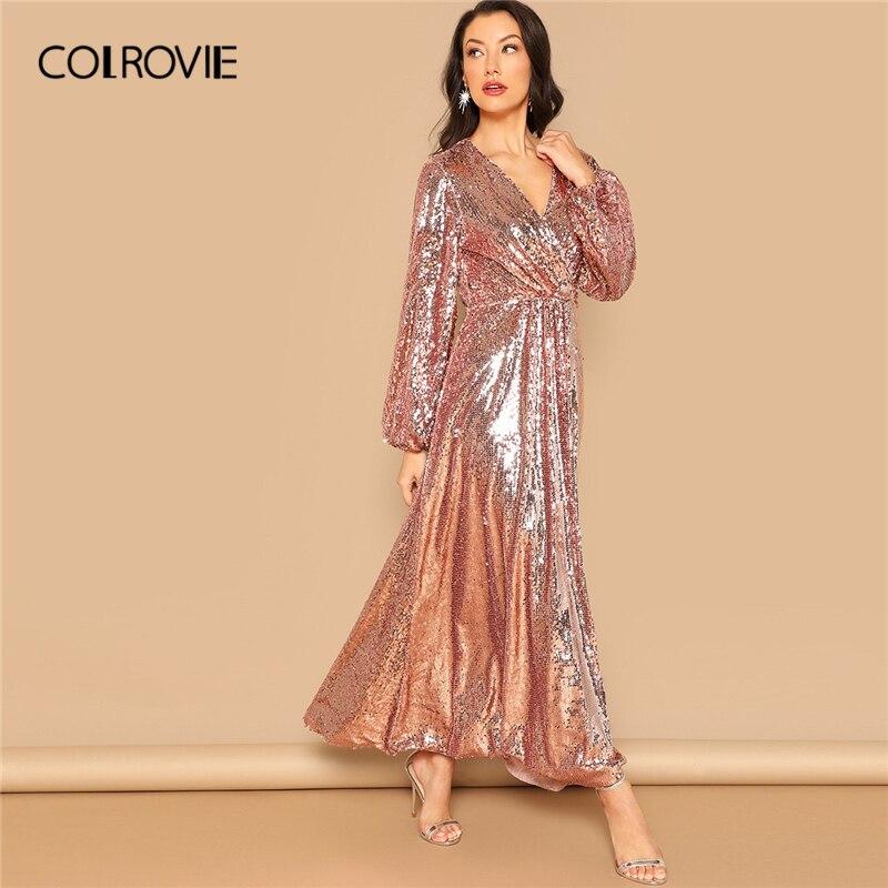 Kadın Giyim'ten Elbiseler'de COLROVIE Pembe V Boyun Surplice Wrap Pullu Parti Elbise Kadınlar 2019 Bahar Moda Fener Kollu Bir Çizgi Zarif Maxi Elbiseler'da  Grup 1