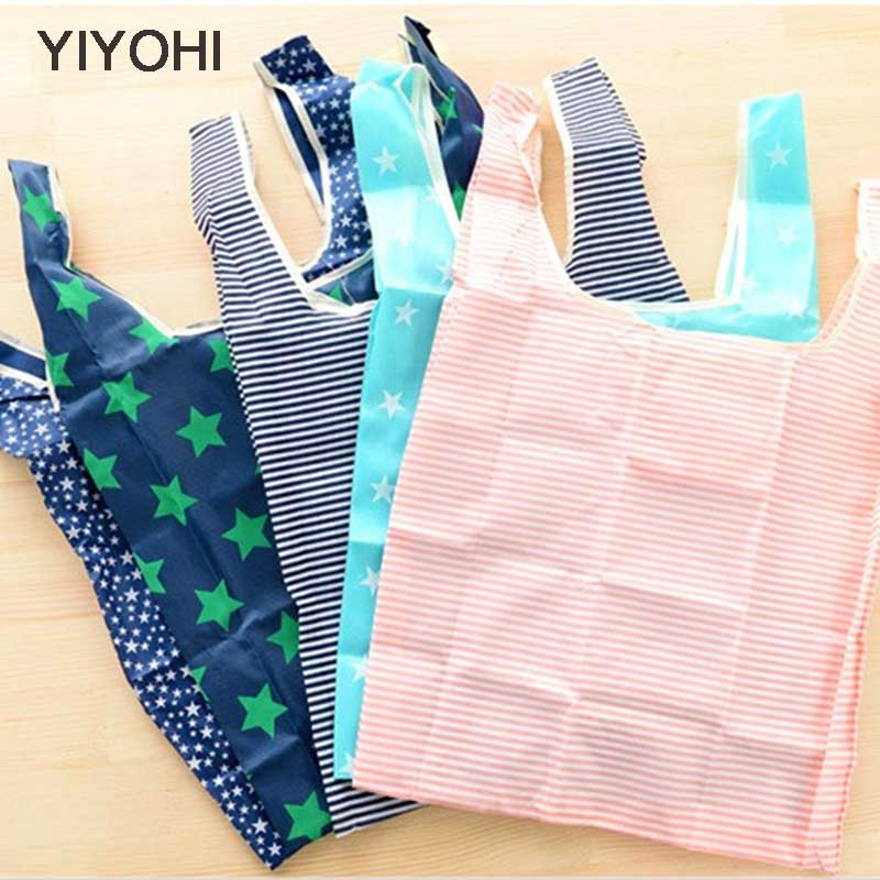 YIYOHI 6 style New Fashion printing foldable green shopping bag Tote Folding pouch handbag Convenient Large-capacity storage bag