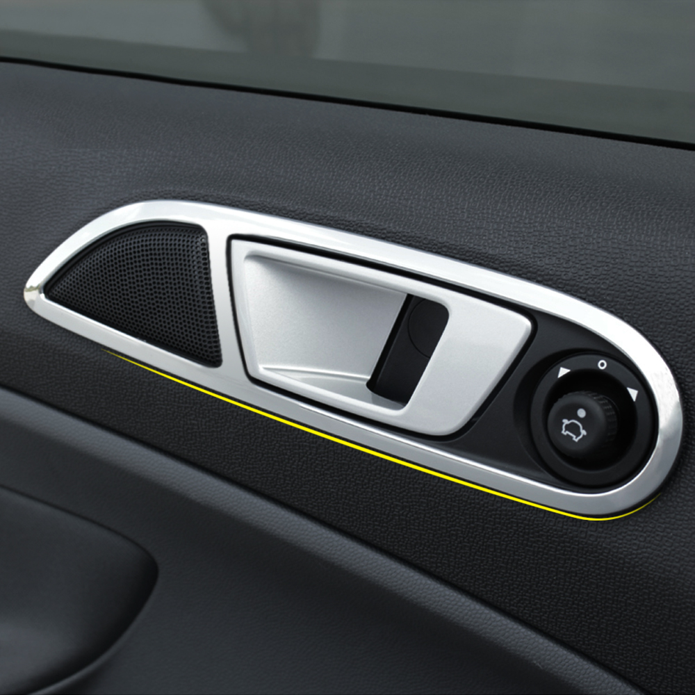 Car stainless steel interior trim doors hand clasping decoration ring for ford fiesta ecosport accessories