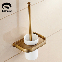 shipping Euro Stylish Antique BrassToilet Brush Holder Solid Brass Base With Single Ceramic Cup Wall Mounted