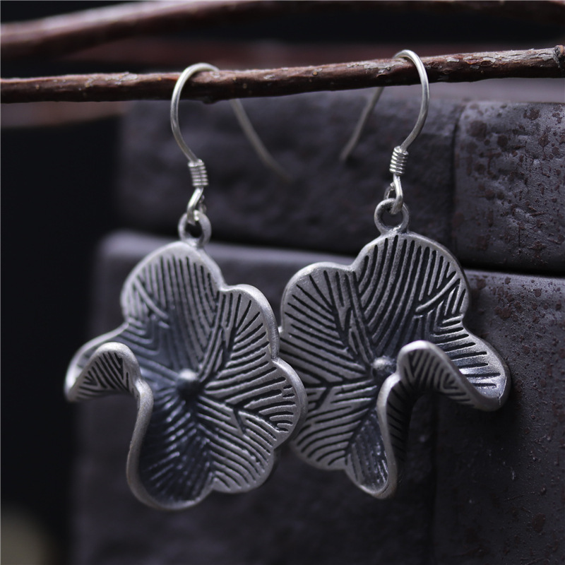 C&R Real 925 Sterling Silver drop earrings for women Ethnic style Lotus leaf Thai Silver earrings Vintage style Fine Jewelry