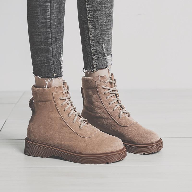 Simple Femmes Nouvelle marron Rétro Bottes Confortable Bottes Sauvage 2018 Couleur Noir Mode Automne Style Martin Solide Casual t8xnqFaA