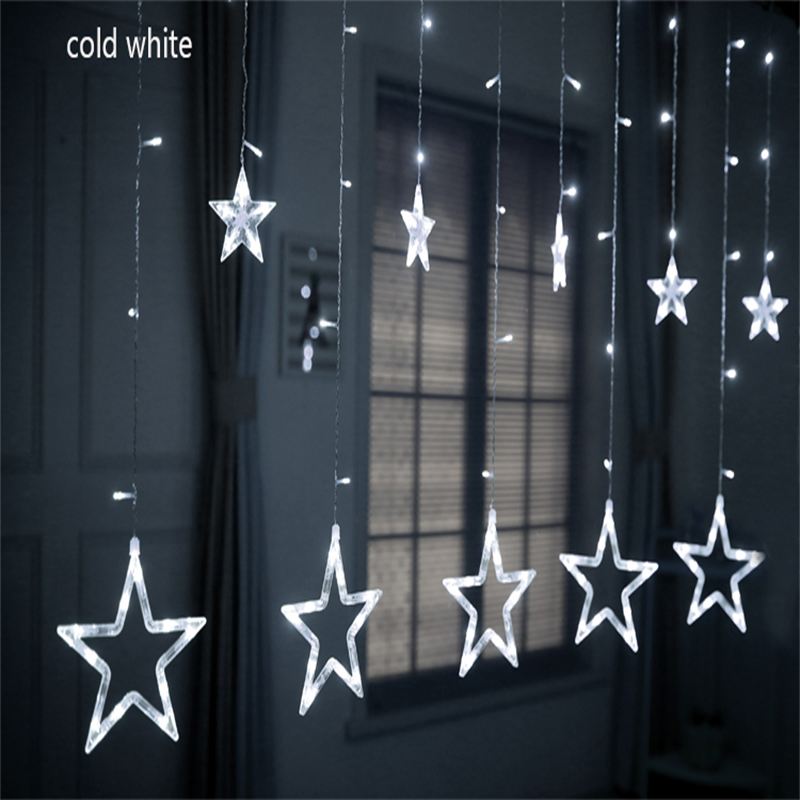 2.5M LED Christmas Star Curtain Lights 220V Christmas Garland Curtain Lights For Xmas/Wedding/Party/Holiday/Decorations Light