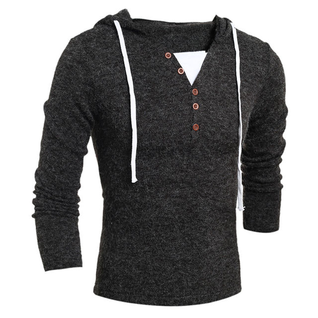 2017 Autumn/Winter Cheap Mens Sweaters Casual Slim Fit Hooded Solid Fashion Pullover Man Sweaters