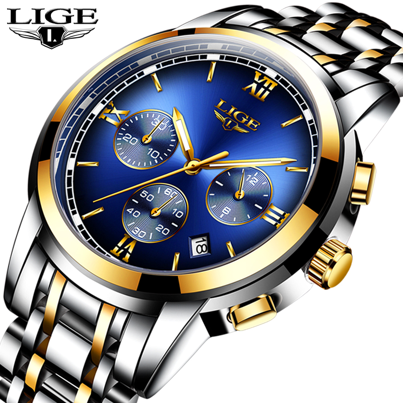 Montre Homme  Watch Men Luxury Brand LIGE Chronograph Men Sport Watch Waterproof Full Steel Quartz Men Watches Relogio Masculino