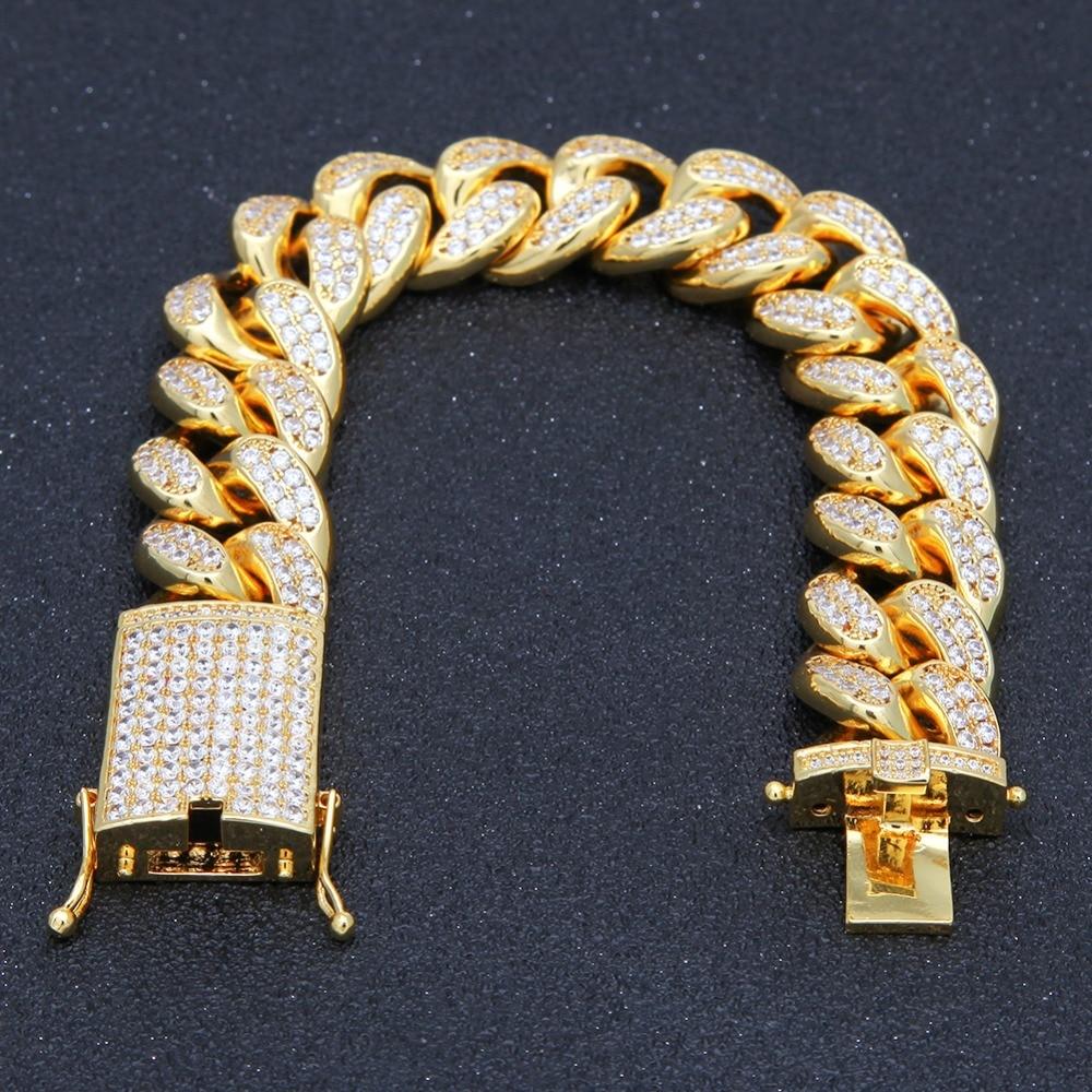 UWIN 20mm Miami Bracelet Cuban Chian Link Iced Out Zircon Hip hop Fashion Punk Choker Chain