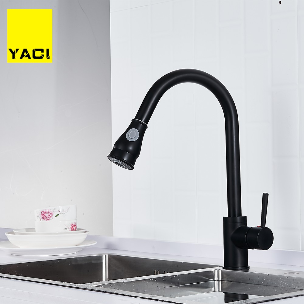 YACI Kitchen Faucets Brass Black Pull Out Kitchen Mixer Tap 2 Way Function Water Mixer Deck Mounted Single Handle Sink Crane
