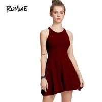 ROMWE Woman Sexy A Line Dresses Summer 2017 Women Party Dress Burgundy Sleeveless Halter Neck A