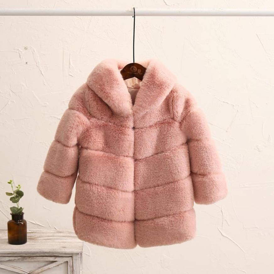 2-8 Year Children's Faux Fur Coat Imitation Rex Rabbit Fur Girls Thicker Kids Clothing Baby Winter Warm Hooded Overcoat Y13
