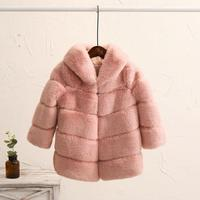 2 8 year Children's Faux Fur Coat Imitation Rex Rabbit Fur Girls Thicker kids Clothing Baby Winter warm Hooded Overcoat Y13