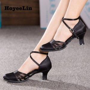 Image 1 - HoYeeLin chaussures de danse en Satin pour femmes, chaussures de bal, pour soirée, Tango et valse, talons, 5.5cm, noires, soldes