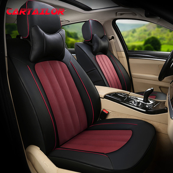 CARTAILOR Leather Seat Covers & Supports for Hyundai Veloster Car Seat Cover Cowhide & Leatherette Seats Auto Accessories Set