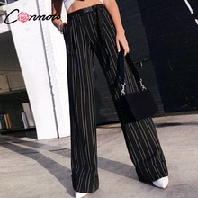 64c6a39691 Conmoto rayado pierna ancha pantalón largo mujer negro suelto Casual Palazzo  pantalones 2018 otoño moda invierno pantalones de c.