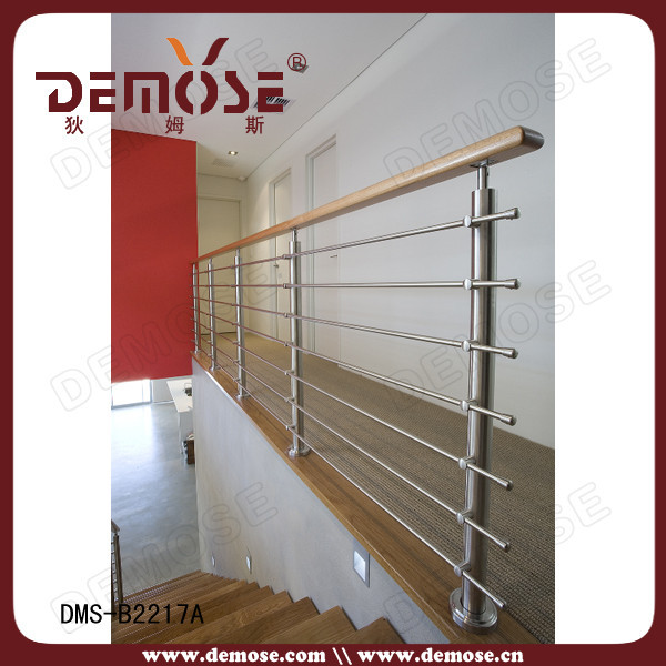 Floor Mounted Stair Stainless Steel Railing With Wood Handrail