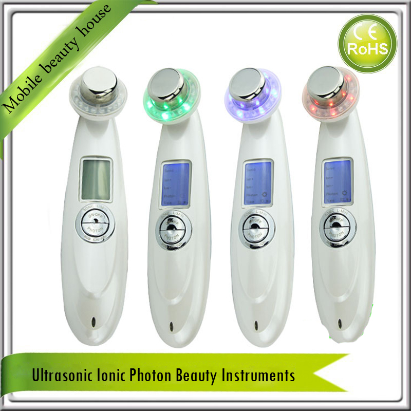 Galvanic  Ion Spa 3MHZ Ultrasound Ultrasonic 3 Colors Led Photon Skin Rejuvenation Anti Aging Vibration Facial Beauty Massager anti acne pigment removal photon led light therapy facial beauty salon skin care treatment massager machine