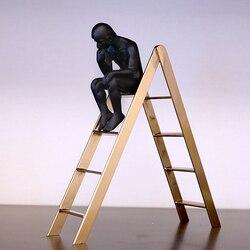 Auguste rodin pensador escultura clássica pensador na escada estante exibição clássica decoração de casa homem preto metal artesanato