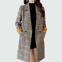 Winter Wool Coat Women Long 2018 New Big Pocket Double Breasted Slim Vintage Elegant Turndown Warm Winter Wool Overcoat