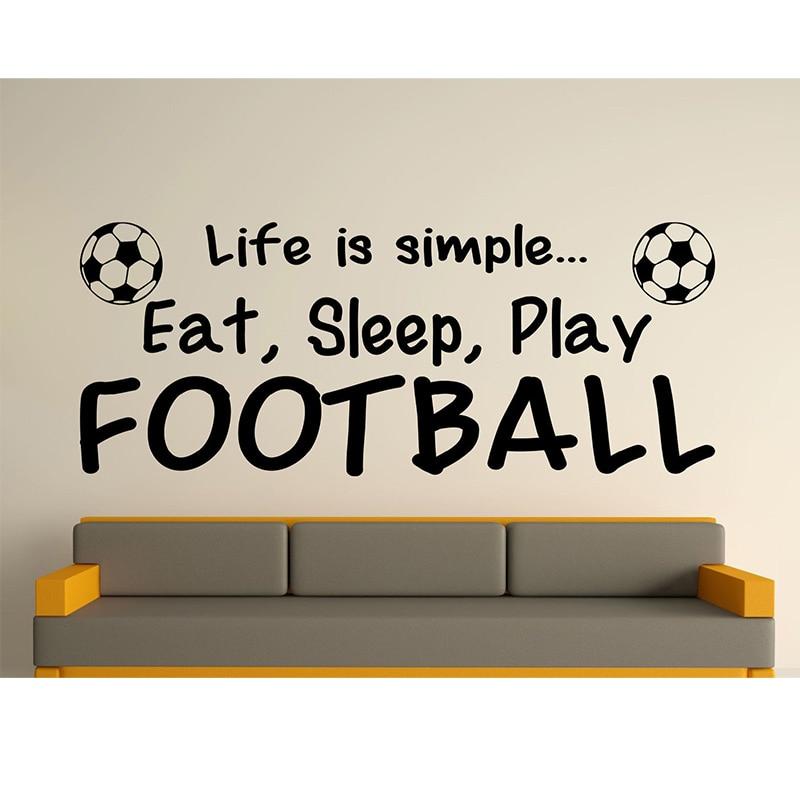 Wandaufkleber Zitate Leben Ist Einfach Eat Sleep Spielen Fussball Kunst Aufkleber Wallpaper Haus Wohnzimmer Schlafzimme