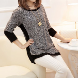 New Fashion Autumn  Brand Female Mohair Pullover Loose Sweater Knitted Long Sleeve O-neck Gray Pullovers Hot Sale Sweater 3