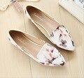 Los fabricantes que venden zapatos blancos de las mujeres de la manera impresa señaló MS bajo con zapatos antideslizantes zapatos casuales tamaño 34-43