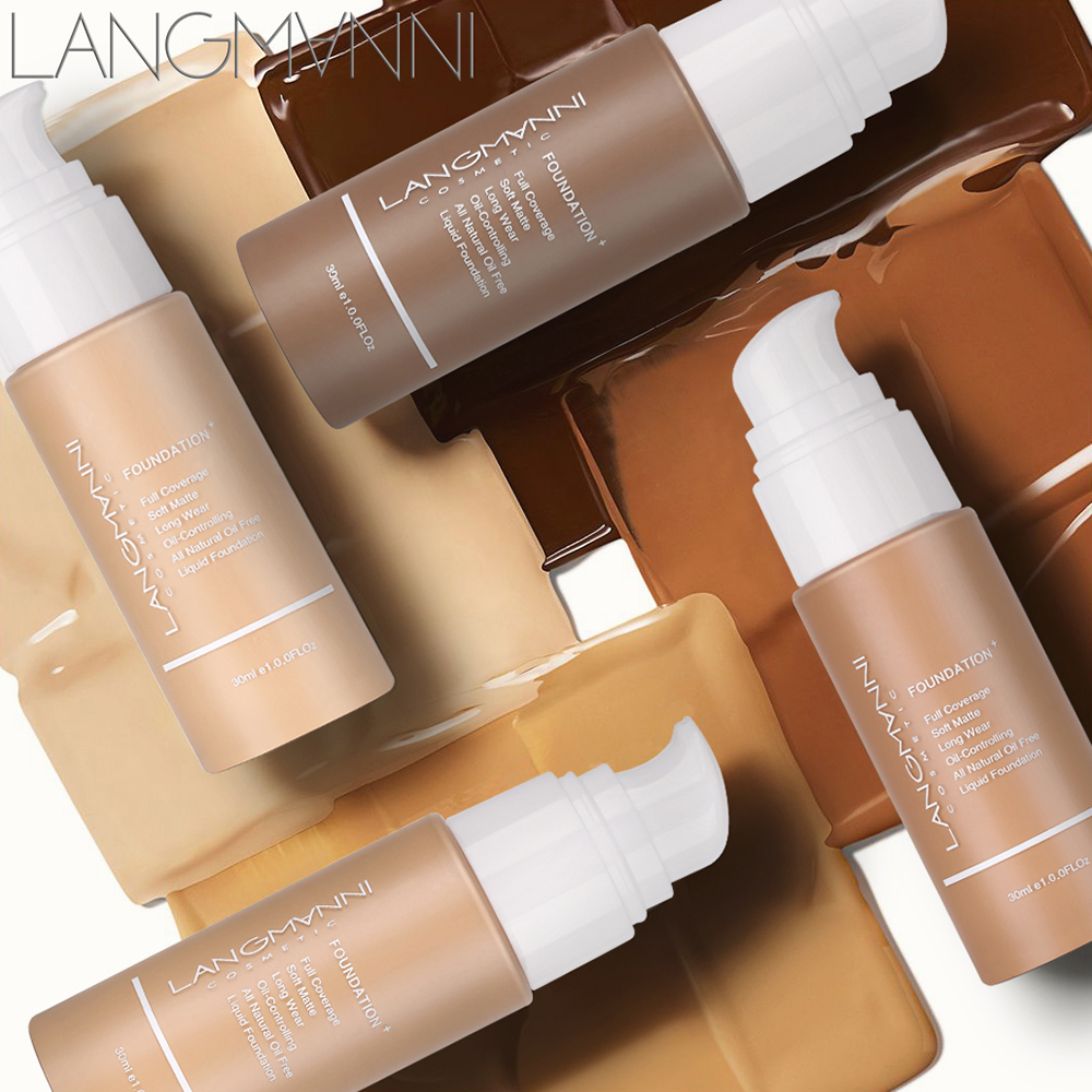 Langmanni 30ml Liquid Foundation Soft Matte Concealer 13 Colors Primer Base Professional Face Make up Foundation Contour Palette 1