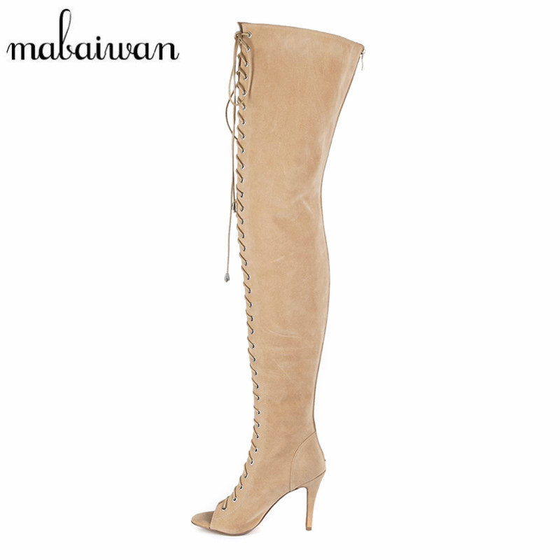 Mabaiwan Designer Women Lace Up Thigh High Boots Sexy Peep Toe Cut Outs Strappy Gladiator Summer Long Boots Over The Knee Botas summer cut outs gladiator sandals boots women sexy peep toe over knee boots high heels thigh high sandal boots