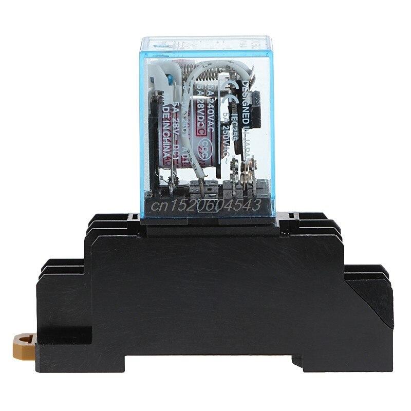 PYF08A 220/240 V AC Bobina Power Relay DPDT MY2NJ 8 Pin With Base New R06 Drop Ship my4nj ly2nj my2nj intermediate relay my4n j ac 220v dc 12v 10a 8 pin with base y103