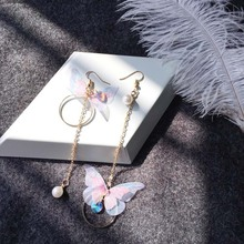 Korean retro asymmetric butterfly imitation pearl alloy earrings long section of the wings and earrings pair of rhinestoned alloy butterfly earrings