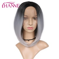 HANNE Ombre Green/Grey Lace Front Wigs for Women Straight Bob Wig Short Natural Synthetic Hair Lady Cosplay Party