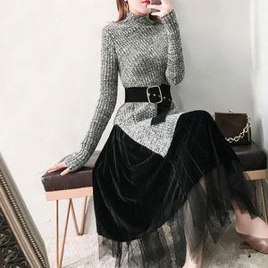 Image 3 - חדש 2019 סתיו חורף אופנה בגדי סטי נשים מוצק סדיר סריגה צמר חולצות סוודר + קטיפה רשת חצאית חליפה