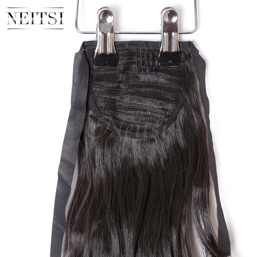 Купить с кэшбэком Neitsi Curly Long Clip In Hair Tail False Hair Ponytail Hairpiece With Hairpins Synthetic Hair 2#